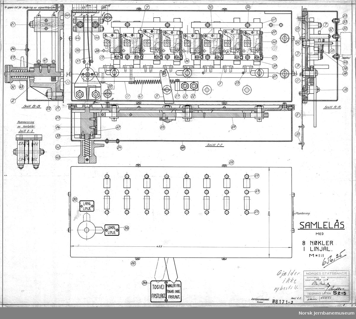 NSB Direktøren for baneanliggender, Signalavd. Samlelås med 8 nøkler og 1 linjal