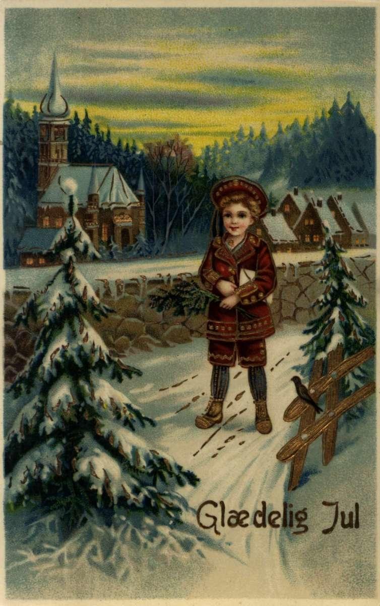 Julekort. Julehilsen. Vintermotiv. Landskap med kirke og bebyggelse. En gutt står utenfor kirkemuren.