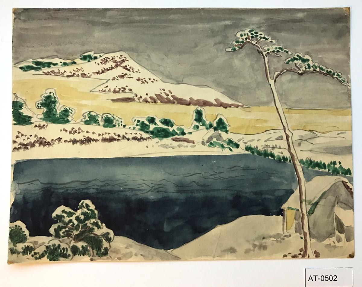 """Einsidig akvarell (ant. ark frå skissebok).  Akvarellen er teikna etter eit tresnitt av Katsushika Hokusai; Pontoon Bridge at Sano, Kozuke Province som høyrer til serien """"Unusual Views of Famous Bridges in Various Provinces (Shokoku meikyo kiran)"""", c. 1833/34. Nikolai Astrups akvarell er ein kopi av denne, men han har latt vere å teikne ei bru som går over vatnet."""