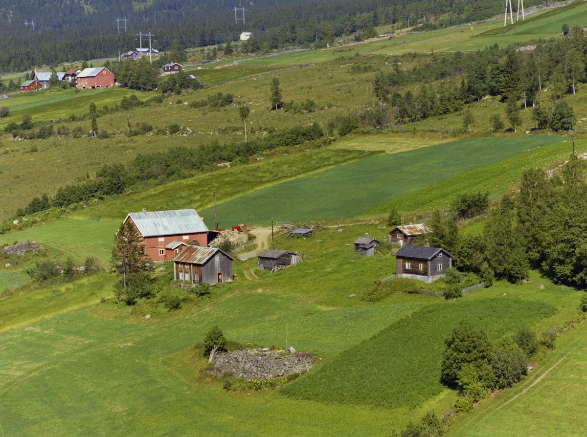 Bakkenget. Gårdsbruk. Stue og driftsbygning, flere små, eldre hus. Åkrer. Stor steinrøys.