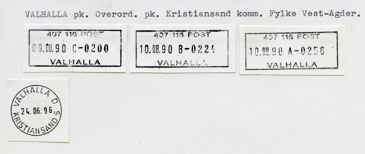 Stempelkatalog Valhalla, Kristiansand, Vest-Agder