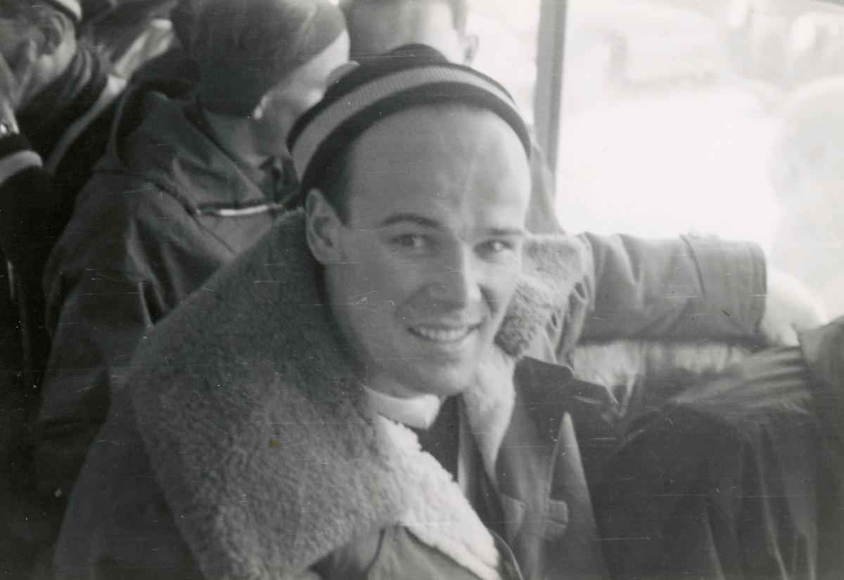 Athlete Georg Thrane on a bus