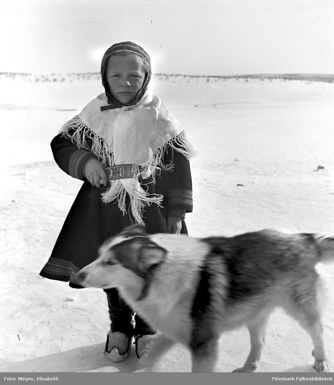 Risten Mathisdatter Skum pyntet i sin fineste stas, samisk kofte, hvitt sjal og samisk vevd belte, med hvite skaller og skallebånd på føttene og samisk lue på hodet. Foran i bildet sees en av hundene i flokken. Bildet er muligens tatt i forbindelse med dåp- eller bryllupsfeiring ved påsketider 1940.