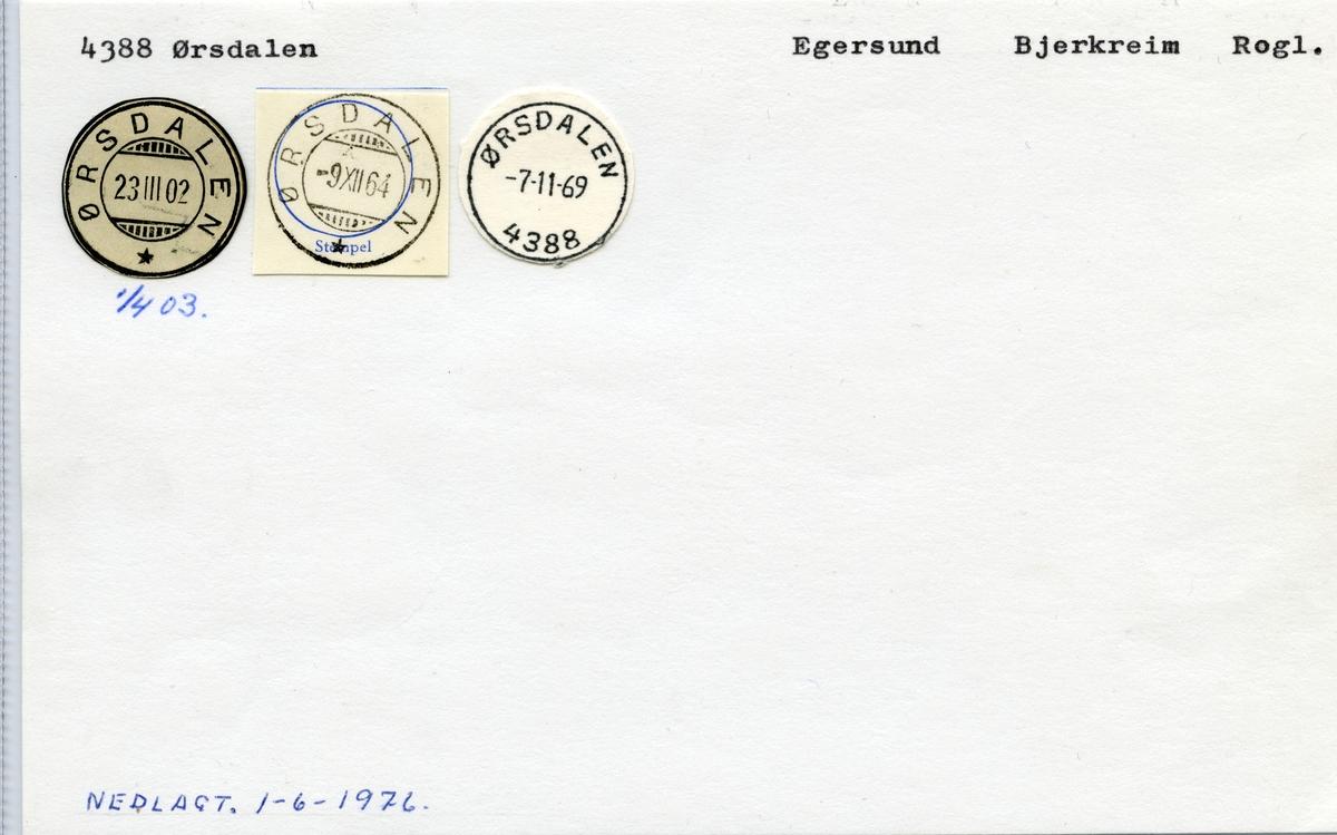 Stempelkatalog  4388 Ørsdalen, Bjerkreim kommune, Rogaland