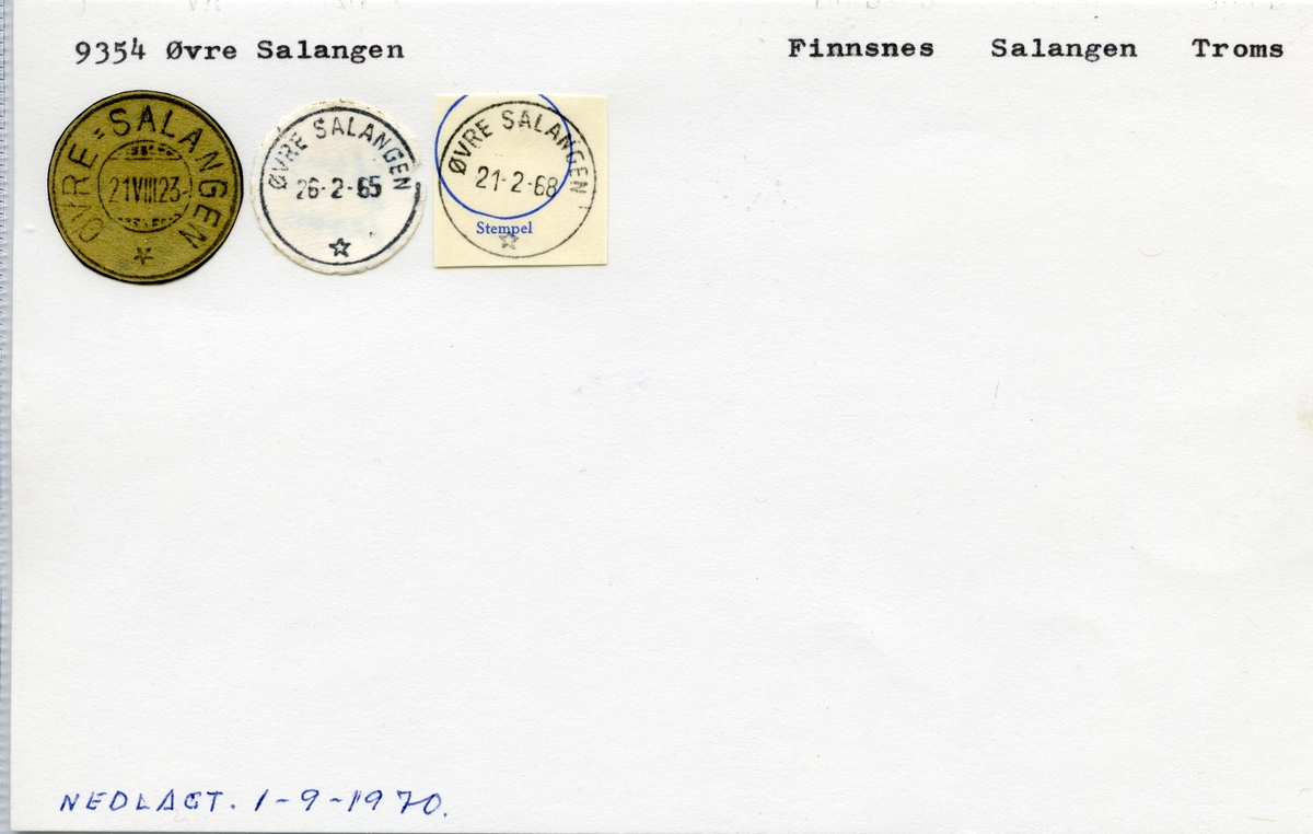 Stempelkatalog  9354 Øvre Salangen, Salangen kommune, Troms