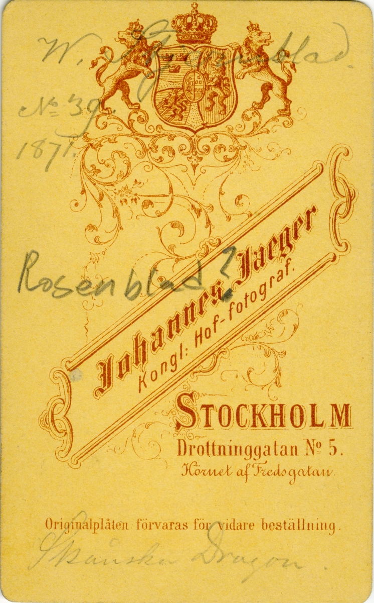 Porträtt av Carl Wilhelm Stjernblad, löjtnant vid Skånska dragonregementet K 6. Se även bild AMA.0008567 och AMA.0021683.