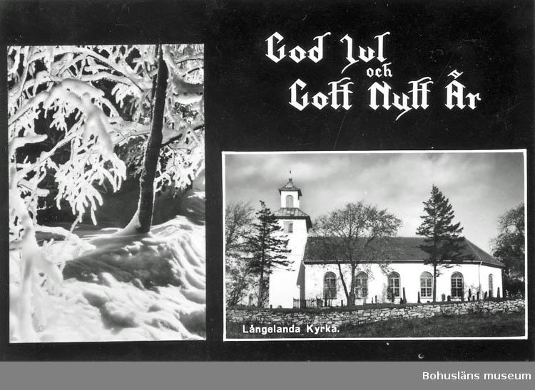 """Text på kortet:""""Långelanda kyrka""""."""