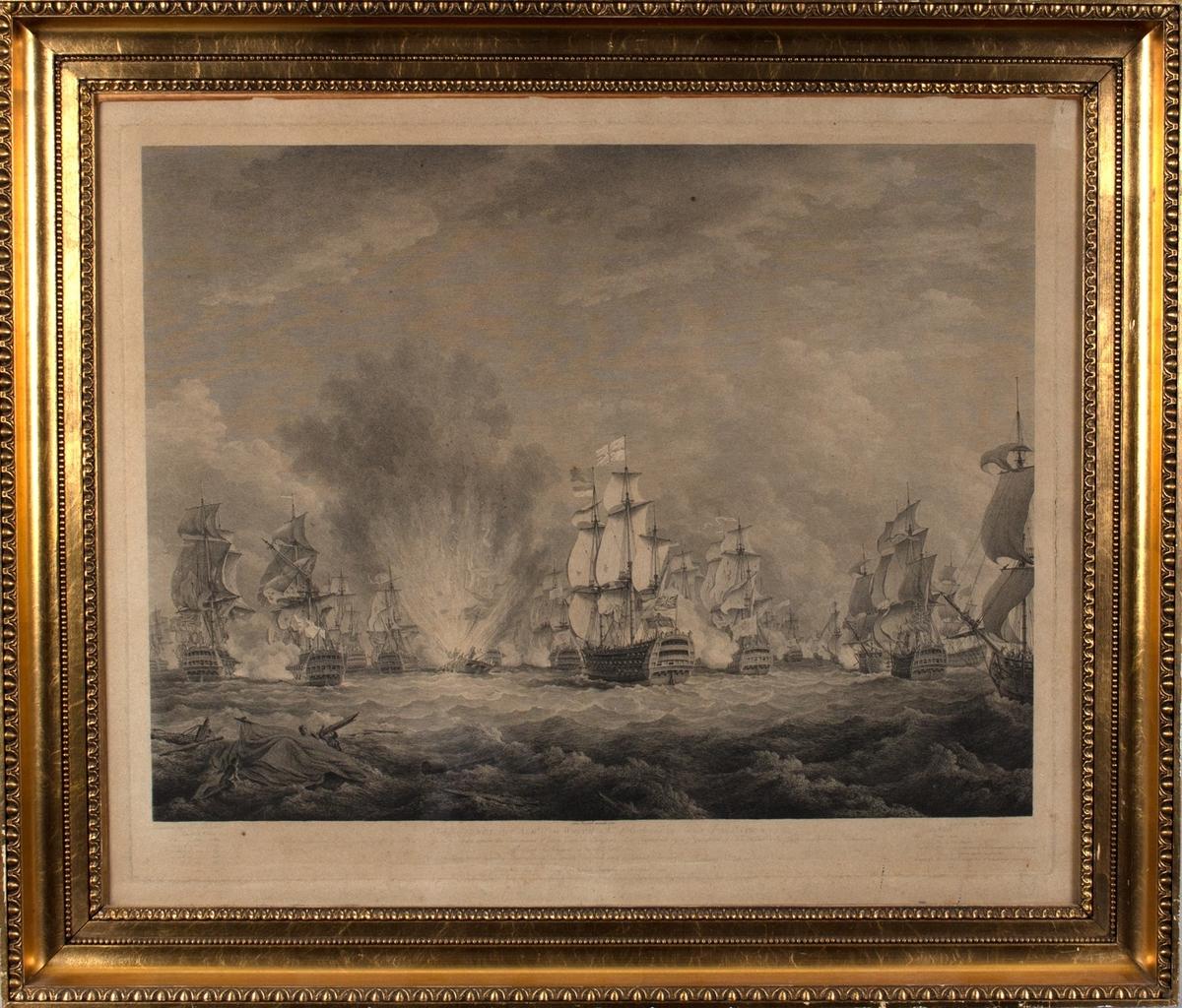 Sjøslag mellom spanske og engelske orlogsfartøy i slaget ved  Kapp St. Vincent i 1780. I midten står et skip i full brann, og i motivets forgrun har skipbrudne klatret opp på vrakgods.