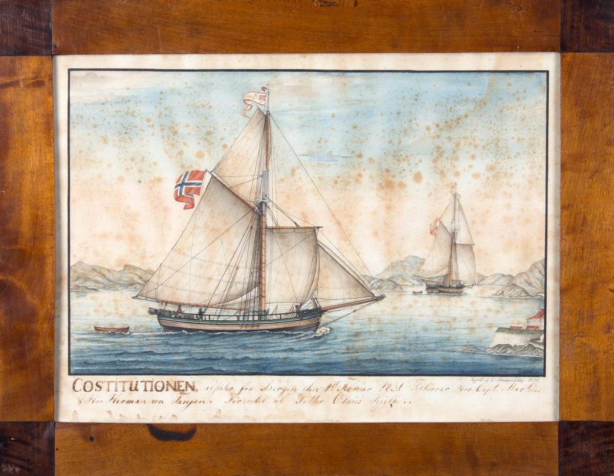 Jakten CONSTITUTIONEN seiler ut fra Bergen.