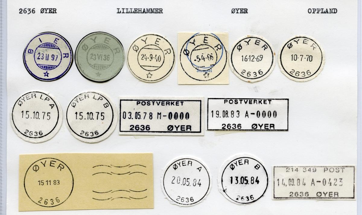 Stempelkatalog  2636 Øyer, Øyer kommune, Oppland