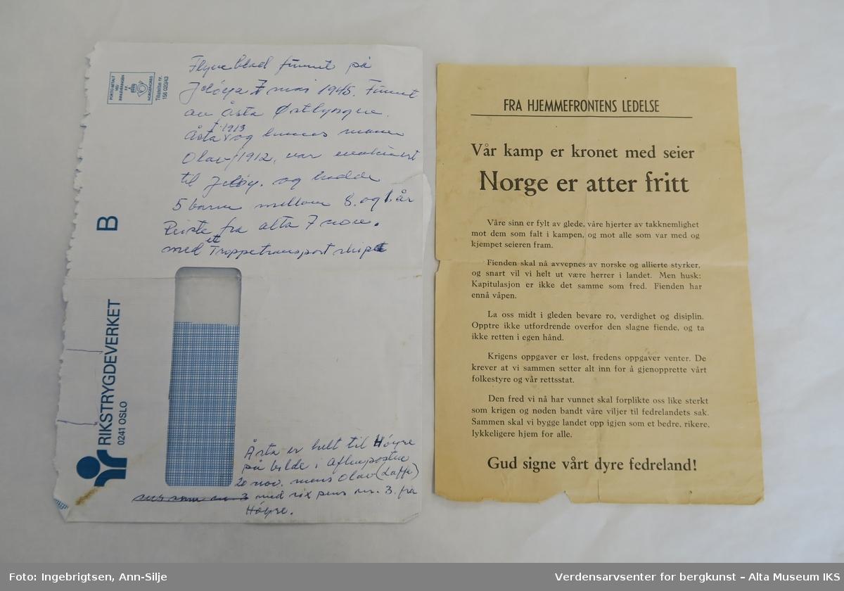 Et A5 papirark med maskinskrevet tekst.