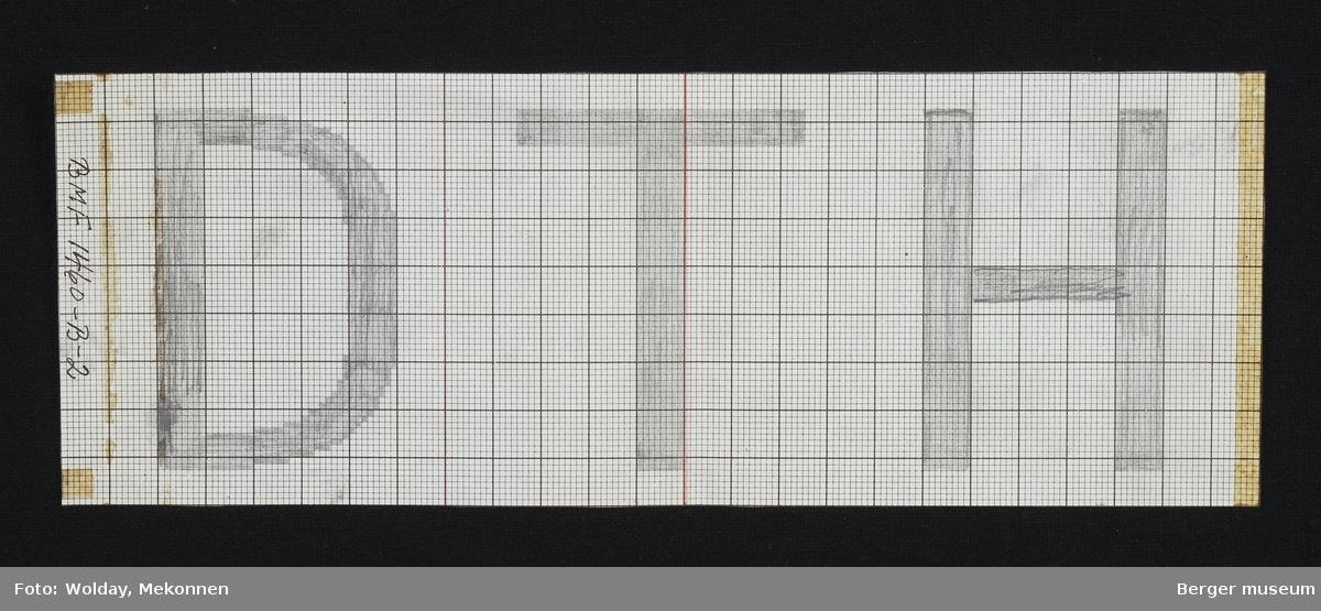 D.T.H. Denne hører sammen med BMF.01460-B-1. B-2 legges på B-1 midt på tegning (se rød strek). Striper fortsetter da over S'n og bokstaven forsvinner i opprinnelig tegning.