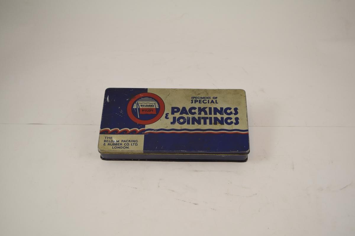 Prøvesett av ulike pakninger i metalleske med lokk. Pakningene er til dampmaskiner, kjeler.