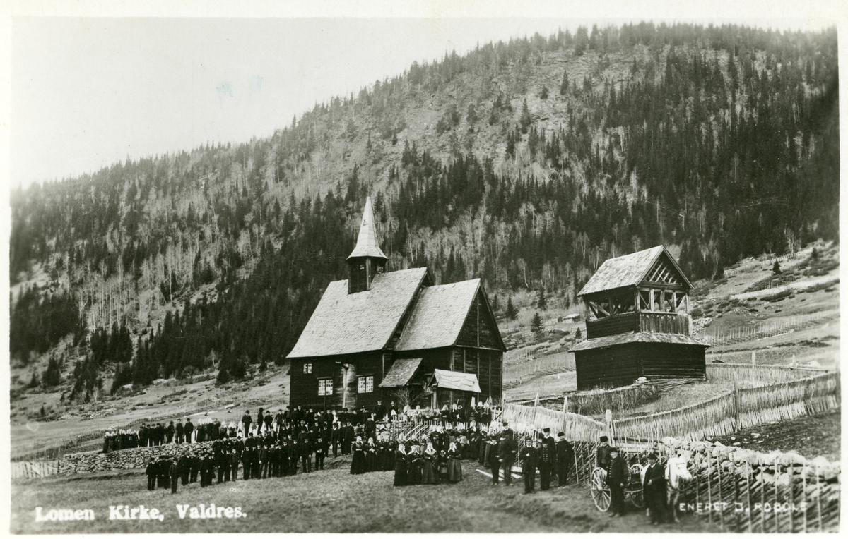 Prospektkort av Lomen stavkyrkje.
