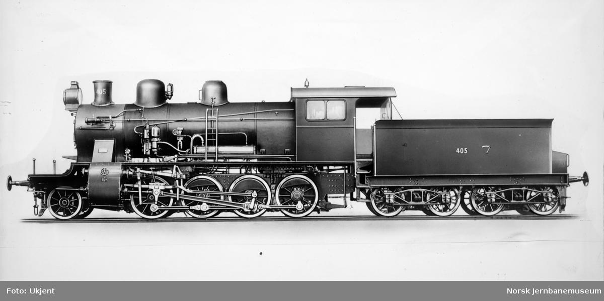 Leveransefoto av damplokomotiv type 24c nr. 405 fra Nydqvist & Holm