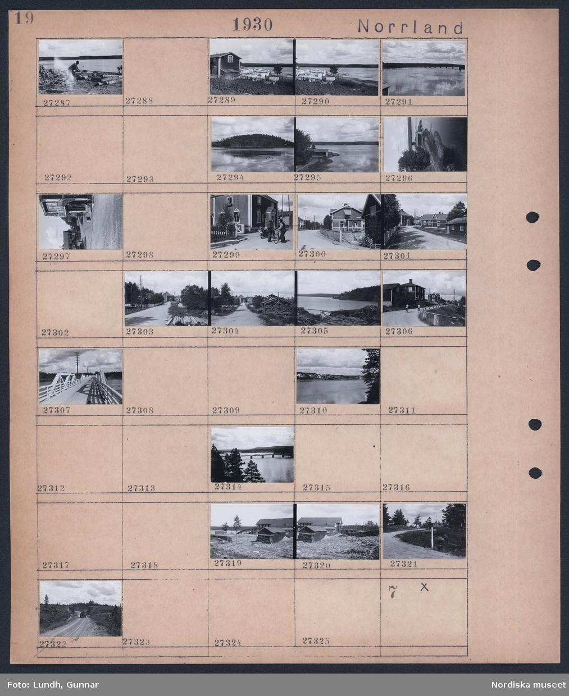 Motiv: Norrland, Lycksele, Hällforsen; En man arbetar med stockar vid stranden, lakan hänger på tork vid ett hud, landskapsvy med sjö och båthus, vy med gata och bebyggelse, landksapsvy med bro, vy över bebyggelse vid sjö, bil kör på grusväg.