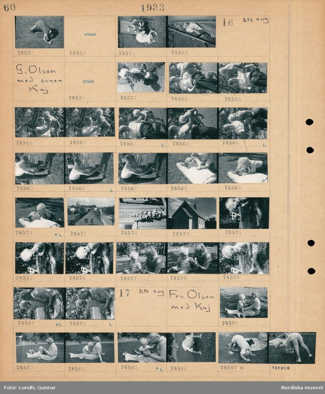 Motiv: Kaj Olson, Dr. Bertofts barn; Porträtt av två barn vid en solstol.  Motiv: G. Olson med sonen Kaj; Porträtt av en man och ett barn, vy över hustak, exteriör av en kyrka, porträtt av en kvinna och ett barn.  Motiv: Fru Olson med Kaj; Porträtt av en kvinna och ett barn.