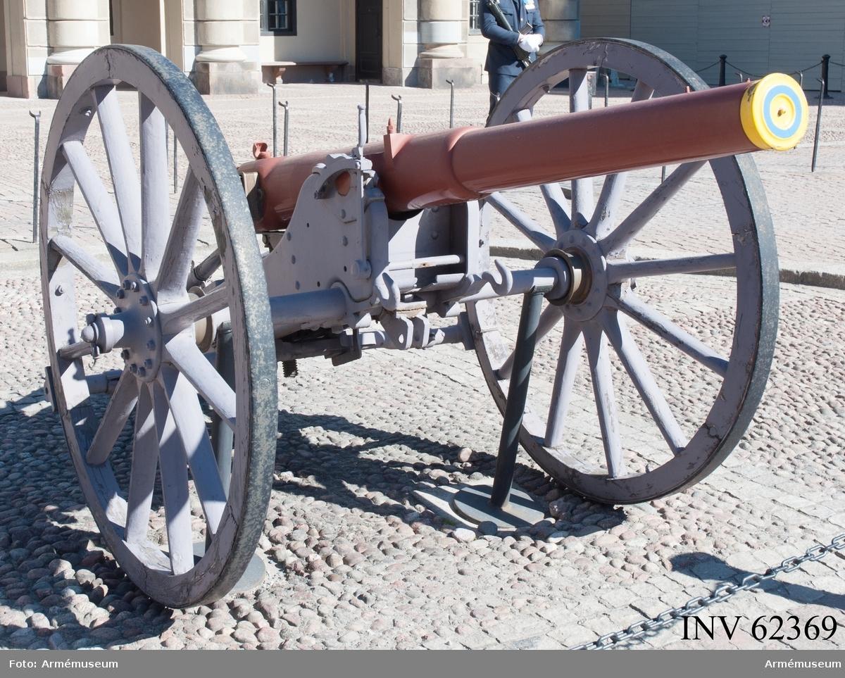 Grupp F I.  8,4 cm kanon m/1881.  Eldröret tillverkat av Bofors, lavetten tillverkad 1888 av Atlas Stockholm.