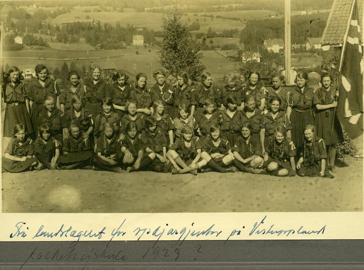 Speiderleir, landsleir for jenter på Vestoppland folkehøgskule, ca 1923.