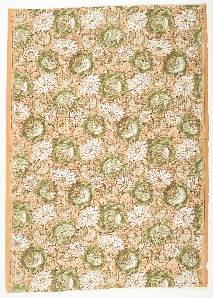 Ett tätt ytfyllande rosen-/blommönster i vitt, brunt och grågrönt på ofärgat papper. Delvis sgrafferad bakgrund. Textilimiterande.