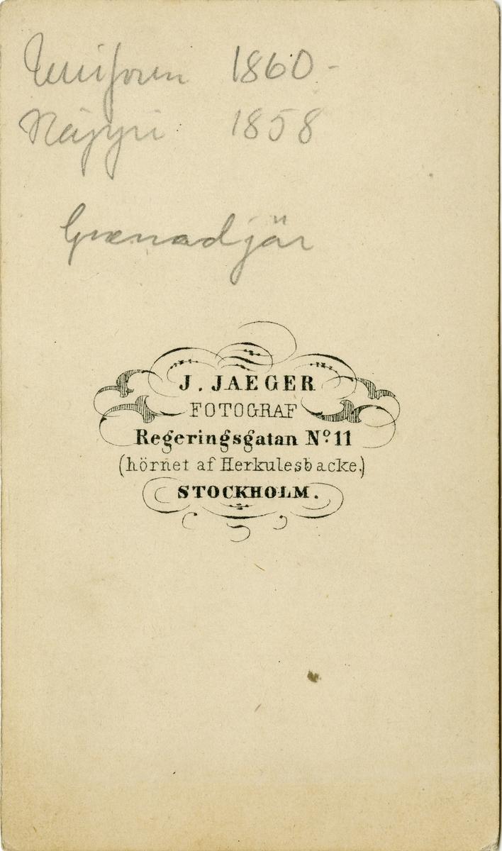 Porträtt av Ernst Ludvig Salomon Ridderborg, officer vid Första livgrenadjärregementet I 4.
