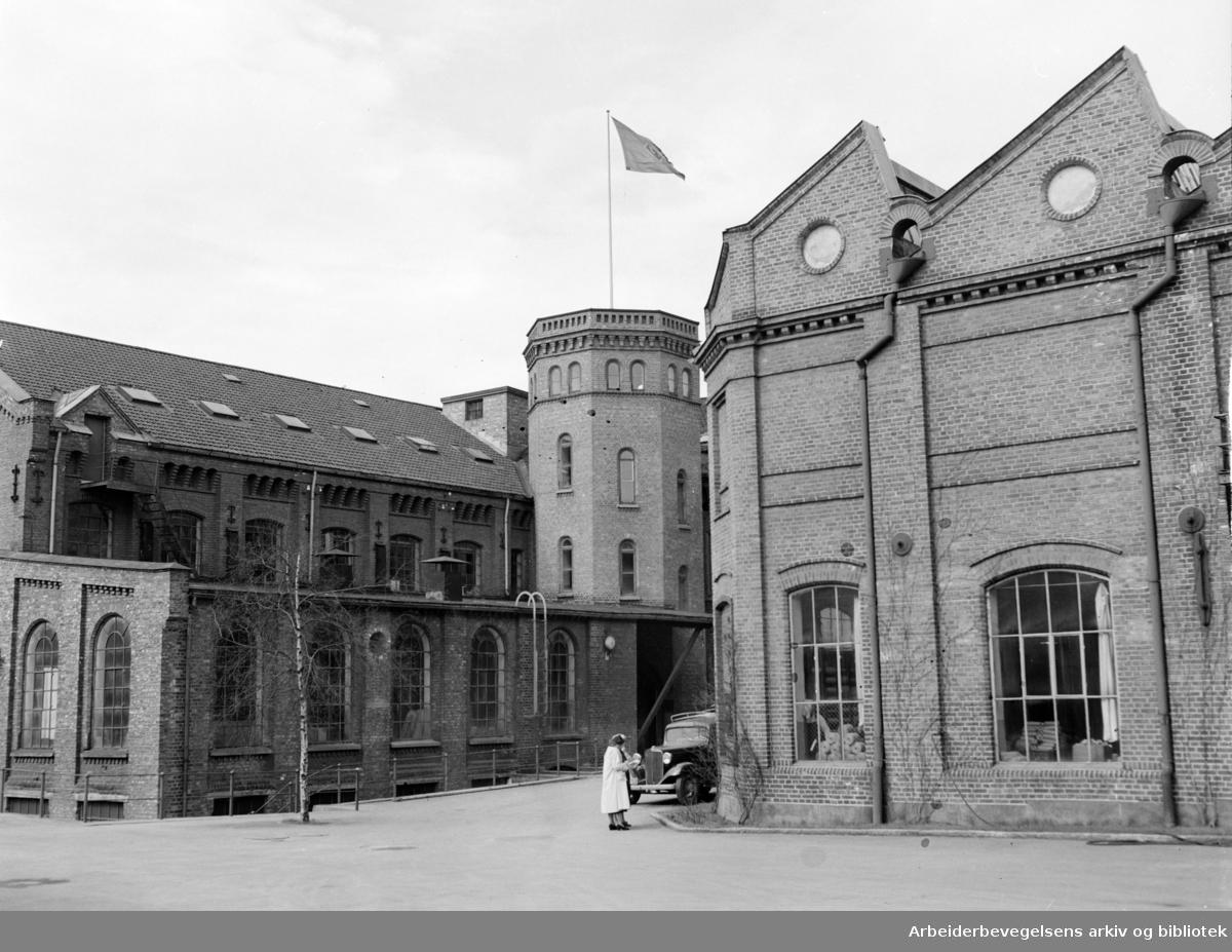 Seilduksfabrikken: Eksteriør. April 1952