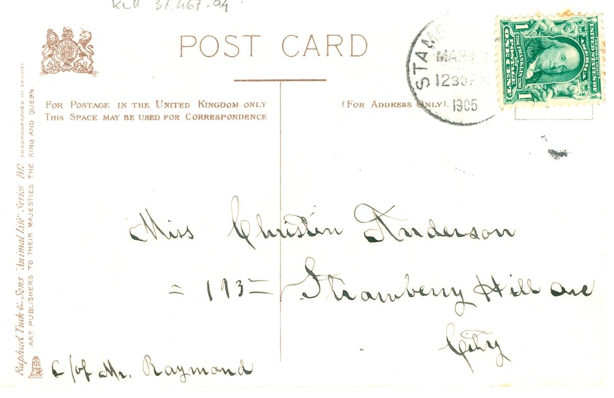 Ett vykort till Christina Anderson, Stamford, Connecticut, USA.
