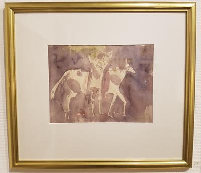 Fargetegning, uten tittel. Tegning. 49x55 cm. Kr. 4.167