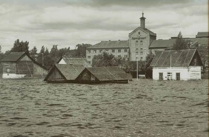 Friluftsmuseet under flommen i 1995