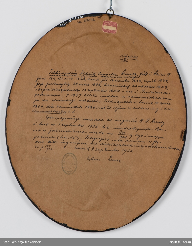Didrik Cappelen Arentz, født i Skien 19. juni 1811, død 19. juni 1880. Toldinspektør i Larvik fra 14. april 1860 til ?