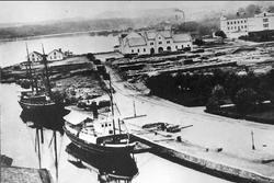 Jönköpings hamn omkr 1860. S/S Göta kanal, Esaias Tegnér. Fö