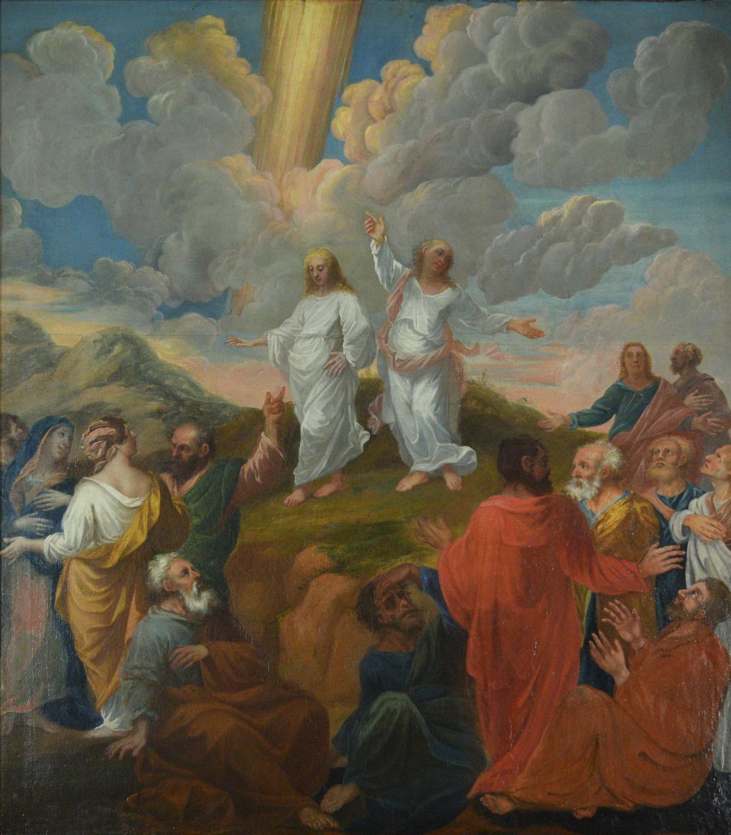 To hvitkledte menn på en liten haug. Mennesker nedenfor, konsentrert til høyre og til venstre. Lyn eller lignende på himmelen. Antagelig beskåret til høyre og til venstre.