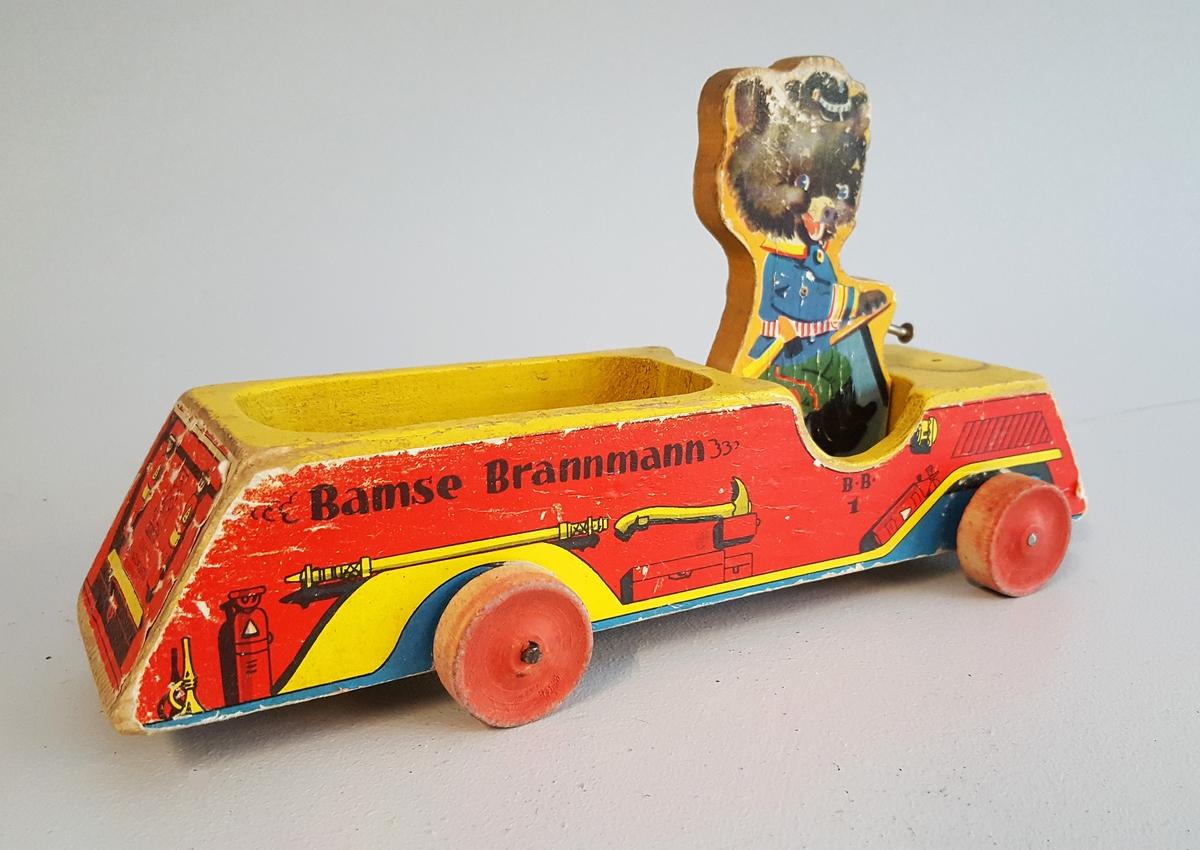 Brannbil med sjåfør/bamse - Delar manglar