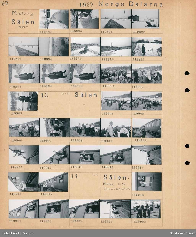 Motiv: Dalarna, Malung, Sälen; En kvinna går på en väg i snöslask, ett järnvägsspår, vy över bebyggelse, vy över en industri med staplade timmerstockar, porträtt av ett barn, en grupp människor med packning står vid ett järnvägsspår.  Motiv: Dalarna, Sälen; En grupp människor med packning står vid ett järnvägsspår, människor vinkar från en järnvägsvagn.  Motiv: Dalarna, Sälen, Resa till Stockholm; Tre kvinnor tittar ut genom ett tågfönster, människor vid ett järnvägsspår.