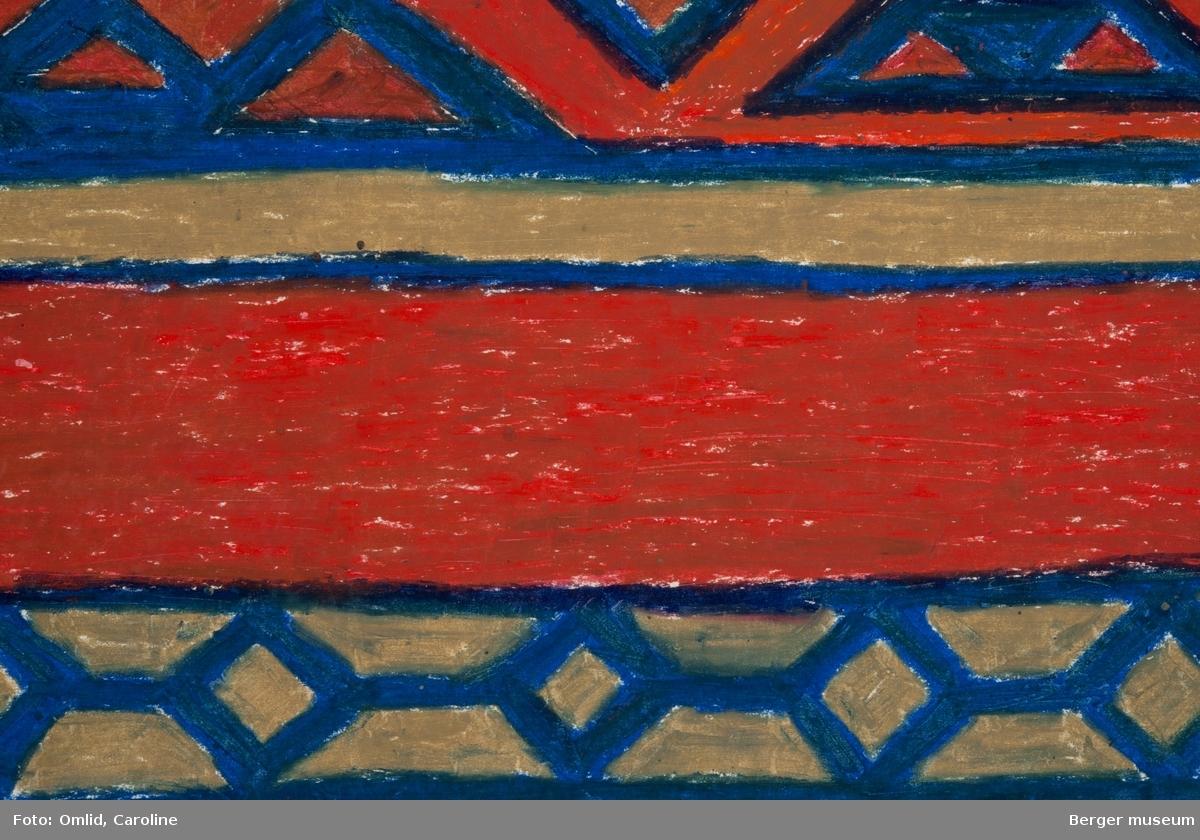 Mønsteret er inndelt som langsgående striper dekorert med geometriske mønstre