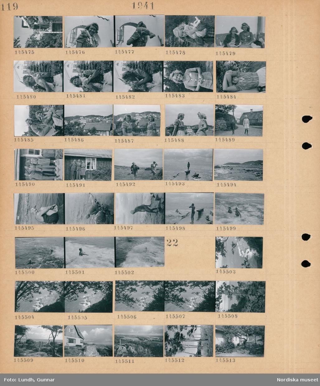 Motiv: (ingen anteckning) ; En flicka troligen fotograf Gunnar Lundhs dotter Jytte.står på en balkong, en kvinna med en katt på axeln, en flicka troligen fotograf Gunnar Lundhs dotter Jytte.håller en katt i famnen, porträtt av en flicka med en katt och en kvinna, vy över bebyggelse, två barn går på en väg, två män och en kvinna står framför ett hus, en flicka troligen fotograf Gunnar Lundhs dotter Jytte. och en kvinna promenererar i naturen, en kvinna står vid havet, landkspavy med strand - hav och kullar, två kvinnor badar i havet.  Motiv: (ingen anteckning) ; Landskapsvy med hav och träd, exteriör av ett hus, landskapsvy med åkrar och bebyggelse.
