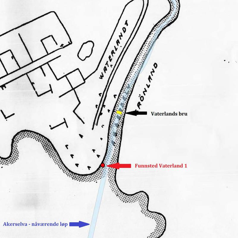 Kart over indre Oslo havn fra 1600-tallet som viser hvor Vaterland 1 ble funnet, Akerselvas nåværende løp og Vaterlands bru.