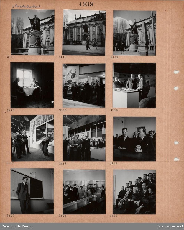 Motiv: Stockholm, exteriör Riddarhuset, staty, två män sitter vid ett dukat kaffebord i enkel bostad, mässhall med utställningsmontrar, besökare, män i kostym sitter vid ett bord, en man i kostym står vid en svart tavla, män i kostym i kemisal i skola(?), en grupp stående och sittande män och kvinnor.