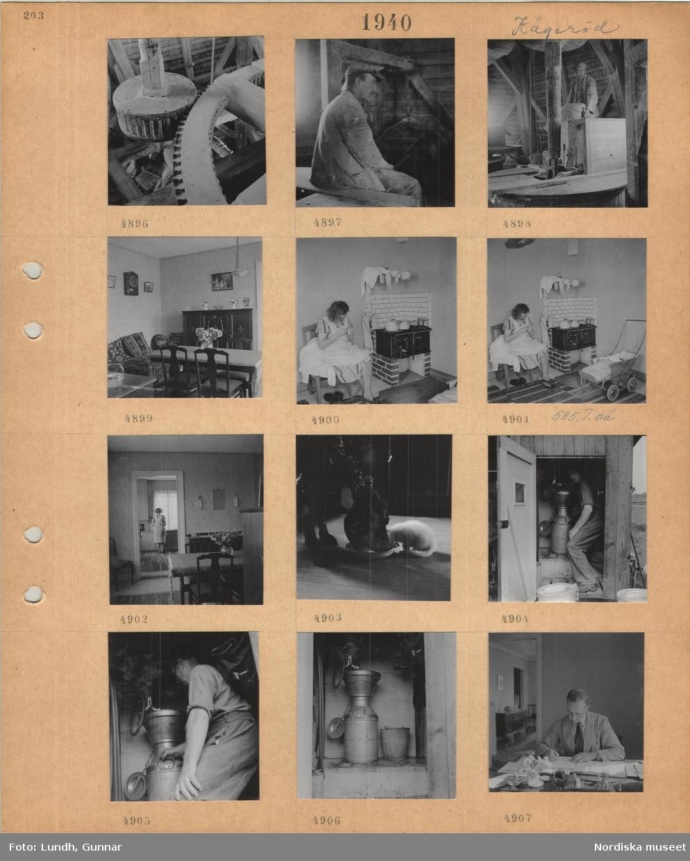 Motiv: Kågeröd, interiör kvarn, kugghjul, sittande man i arbetskläder, man bär en fylld säck, interiör med matbord, dyscha, skåp, kvinna i förkläde sitter och syr i kök med järnspis, trasmattor, barnvagn, står vid köksbänk, hund och katt äter från samma fat, man arbetar med mjölkhantering, fyller stort mjölkkärl, en man arbetar vid ett skrivbord.