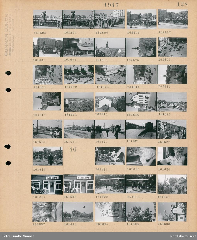 """Motiv: (ingen anteckning) ; Stadsvy med människor vid en fontän, människor på ett torg med torghandel, människor vid en byggnad med skylt """"Tempo"""", stadsvy med hustak, exteriör av hus med skylt """"ebes kaffe"""", människor på en perrong på en järnvägsstation.  Motiv: (ingen anteckning) ; En kvinna och en man står på plattformen på en järnvägsvagn, porträtt av en kvinna möjligen Ester Lundh i en tågkupé, människor sitter vid en järnvägsstation med skylt """"Klockrike"""", människor på perrongen vid en järnvägsstation, en kvinna går i en allé, exteriör av hus, en eltransformator, ett blommande kastanjeträd."""