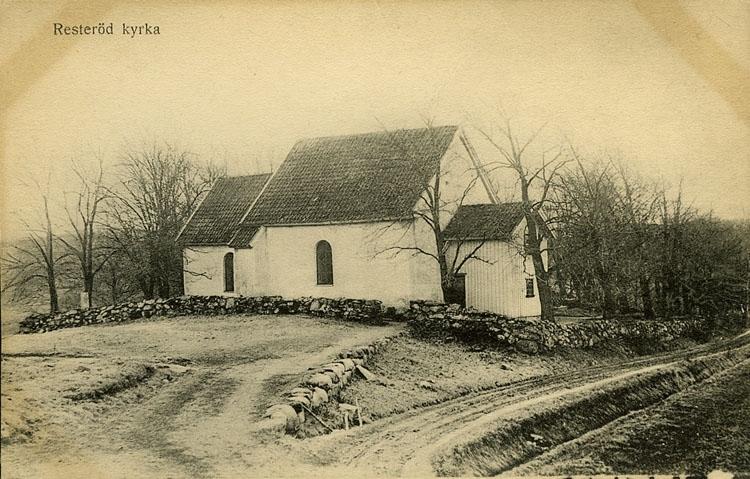 """Enligt Bengt Lundins noteringar: """"Resteröd kyrka. Framfarten""""."""