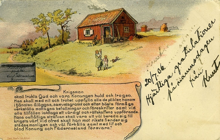 """""""Soldattorpet med krigsmans erinran. (inga nya indelta soldater efter 1902)"""" enligt Bengt Lundins noteringar."""