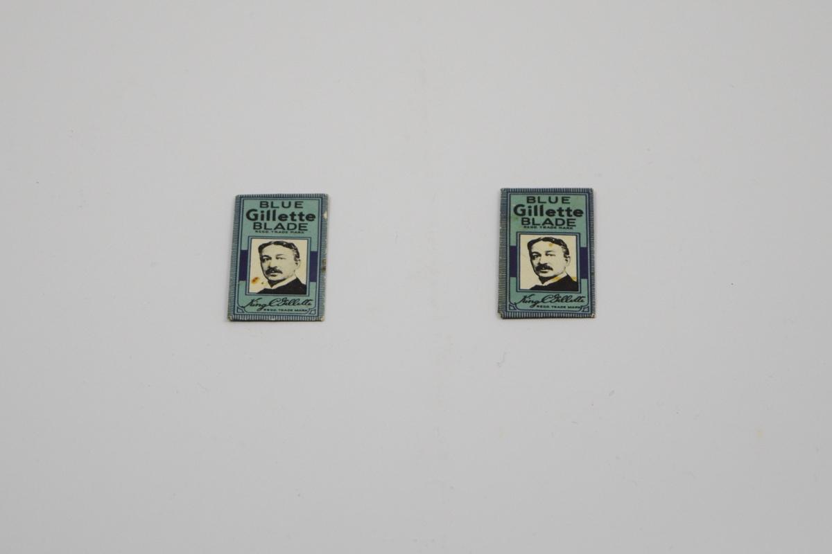Portrett av GILLETTE. På beskyttelsespapiret: svart trykk på blått underlag.