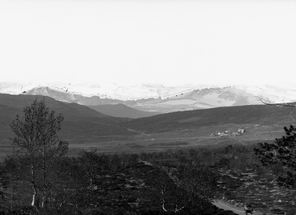 Hjerkinn fjellstue på Dovrefjell med Snøhetta i bakgrunnen.