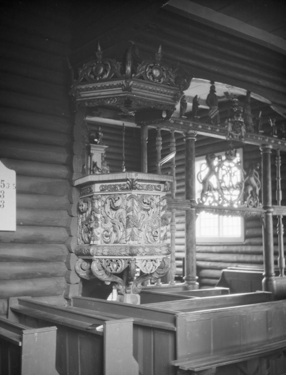Sødorp kirke, Vinstra, Nord-Fron, interiør,prekestol