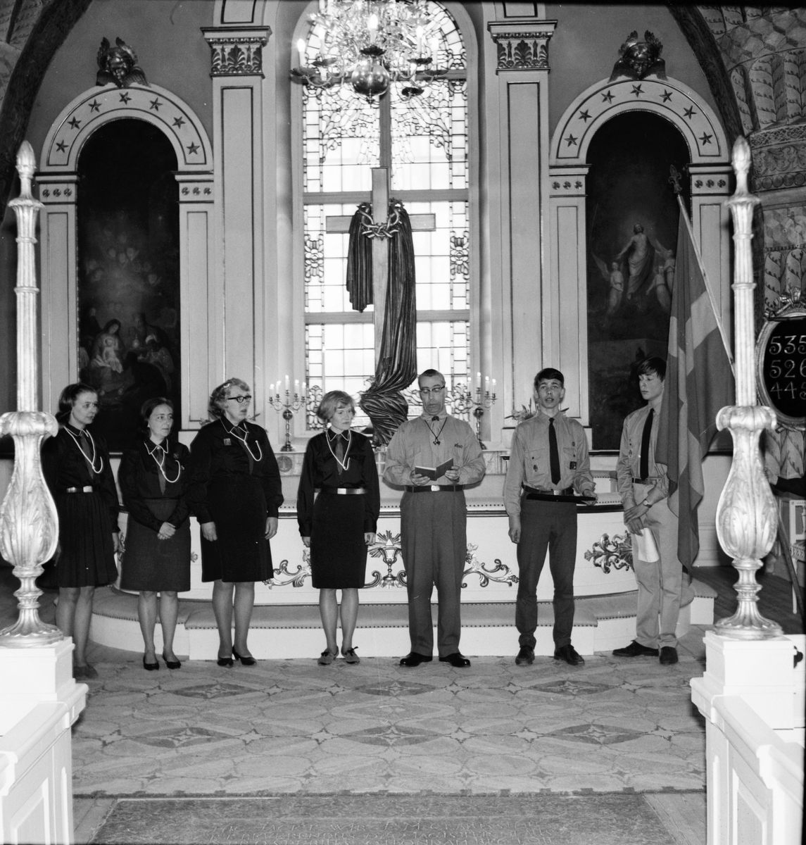 Arbrå, Scoutupptagning i kyrkan, 21 April 1968
