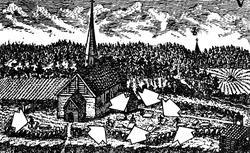 """Illustrasjon av """"Jern- Zirater"""" på Spydeberg kirkegård ca. 1"""