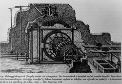 Reversibelt vasshjul for fordring i gruvesjakt. Illustrasjon