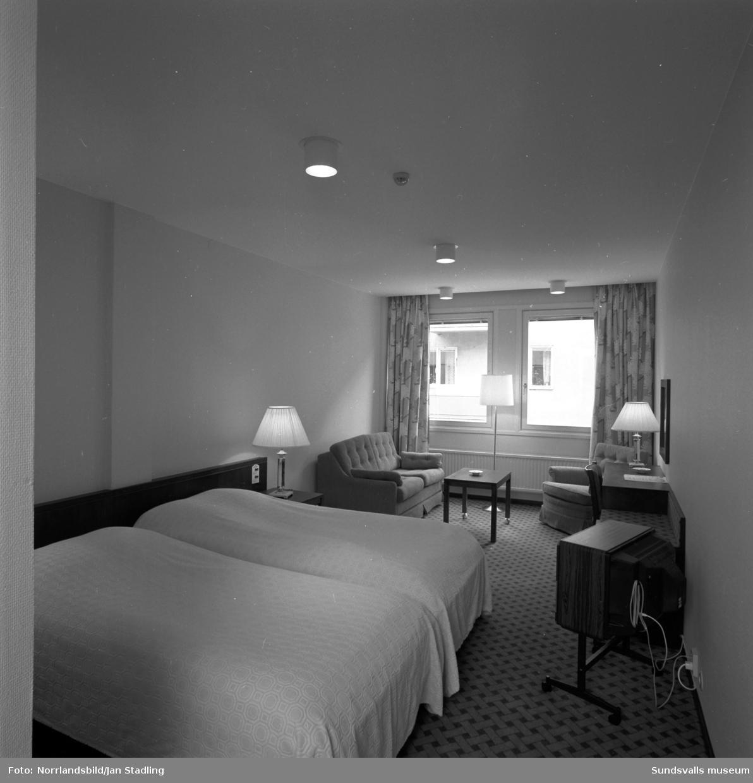 Bilder från reception och hotellrum på nybyggda Hotell Bore vid Trädgårdsgatan.