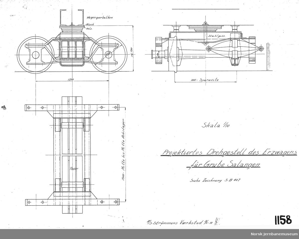 Projektiertes Drehgestell des Erzwagen für Grube Salangen  Salangsverket Sporvidde 1000 mm